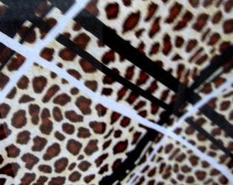 Vintage Leopard Print Scarf Window Pane Block Design Ladies Scarves Brown Gold Black