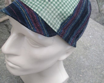 Cycling Cap -  Green Houndstooth and Striped Corduroy (Medium)