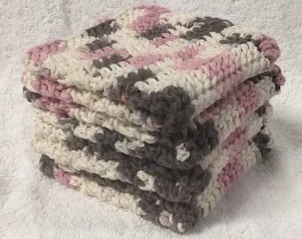 Set of Four Crocheted Cotton Dishcloths