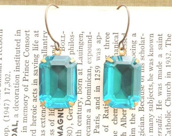 rhinestone earrings blue zircon baguette step cut swarovski shabby chic