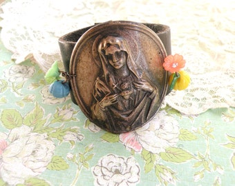 religious leather cuff catholic assemblage recycle sacred heart upcycled jewelry rustic religion
