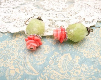 recycle bead earrings spring flower dangle green assemblage