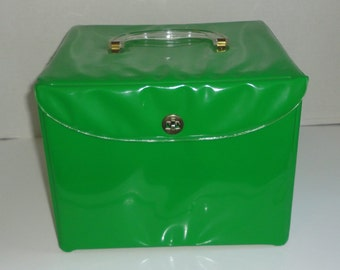 1960s Green Patent with Lucite Handle Sewing Pattern File Case.