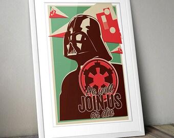 Star Wars Inspired Vintage Offset Vader Print (A3)