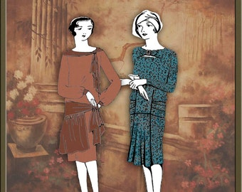 1928 Flapper Fall Dress Hat Making Patterns 20s Sewing Downtown Abbey Gatsby