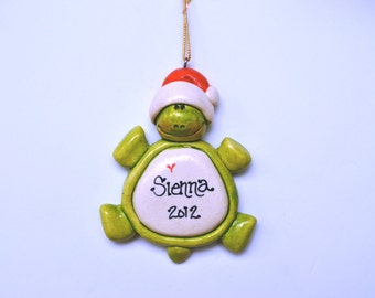 Personalized Holiday Turtle Ornament