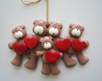SALE...Personalized Heart Bear Family of Five Christmas Ornament/family Ornament/Teddy bear family/Family names / sale priced