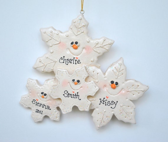 Personalized snowflake family of 4 christmas ornament for Family of 4 christmas ornament