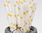 25 Bright Yellow Stars Paper Straws - Perfect for Parties - Favors--Free Editable DIY Tags PDF