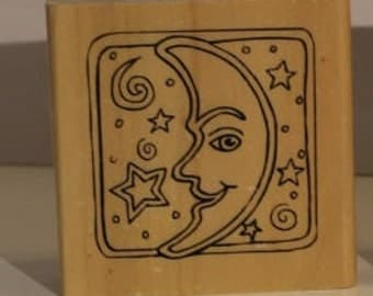Man in the Moon Rubber Stamp