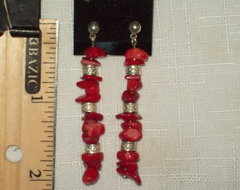 Natural Bamboo Coral and silver earrings