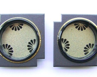 Vintage Japanese Door Pulls  Small  Gold Grey  (A31) Set of 2