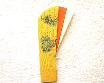 Vintage Japanese Kimono Decoration - Obi Decoration - Japanese Vintage -  Mustard Yellow  Orange