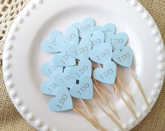 25 Blue Heart Wedding Mini Cupcake Toppers or Food Picks I Do