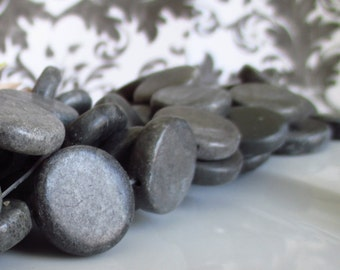 Dark Slate Grey Green Marble 20mm Coin Rounds 10pcs 8 inches (20cm)