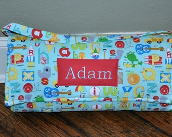 Nap Mat -  Monogrammed Apple Jack in Aqua Nap Mat with Red Double-sided Minky or Minky Dot Blanket