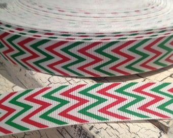 "7/8"" CHRISMAS Red Green and White CHEVRON Grosgrain Ribbon sold by the yard"