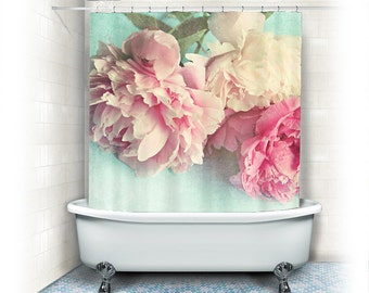 "Peony Shower Curtain ""Like Yesterday"",aqua, pink, bathroom,home decor,pastel flowers,Peony,nature,floral shower curtain,shabby chic"