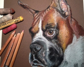 "11x14"" Custom Dog Portraits Pet Pastel Paintings Drawing"