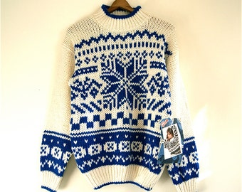 SALE / Snowflake Sweater Blue/Cream // Vintage GITANO dead stock