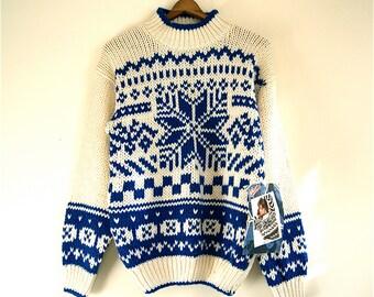 Snowflake Sweater Blue/Cream // Vintage GITANO dead stock