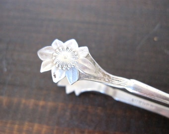 Antique Sugar Tongs Silverplate by Aurora, Floral Daisy Design
