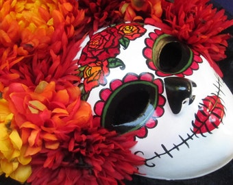 OOAK Puesta Del Sol Mask,  Day of the Dead/Dia de los Muertos Mask with Burnt Silk Autumn Color Roses and Headdress