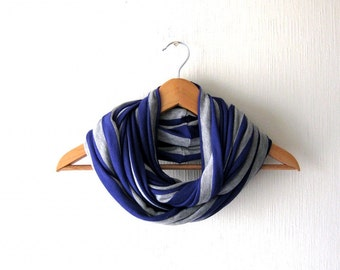 SALE - Striped purple and gray Infinity Scarf - Soft  knitted  Jersey Circle Scarf, Cowl, Neckwarmer, eternity scarf