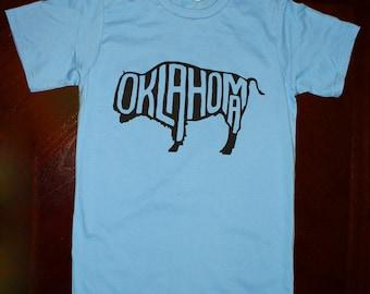 Oklahoma Buffalo T-Shirt - Light Blue (unisex sizes S, M, L)