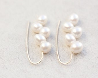 Modern White Pearl Earrings 14K Goldfilled White Wheat Pearls Ivory Wedding Bridal Fashion Minimalist jewelry