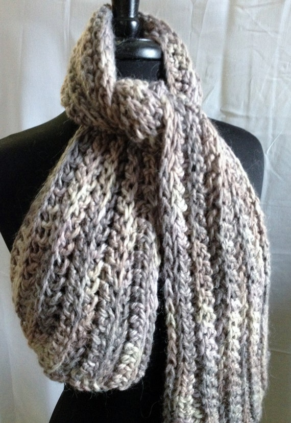 Items similar to Bulky Ribbed Scarf, Hand Crocheted ...