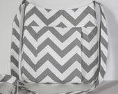 Gray and White Chevron Crossbody bag