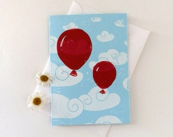 Linocut Balloons in the sky Card / notelet
