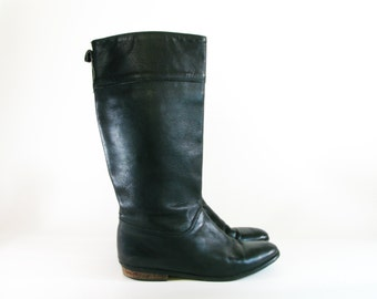 Vintage Eddie Bauer Boots / Black Leather Riding Boots - size 9.5