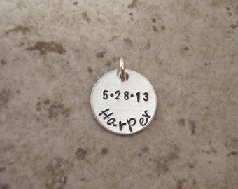 "Birth Date charm- Name charm - Birthdate charm - 1/2"" sterling silver date name charm - Custom name charm-  Small 1/2"" sterling silver charm"