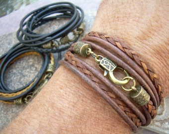 Triple Wrap Leather Bracelet with Antique Bronze Hardware, Mens Bracelet, Womens Bracelet,  Mens Jewelry, Womens Jewelry, Groom, Fathers Day