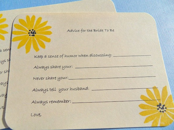 Items similar to bridal shower advice cards wedding for Bridal shower advice cards template