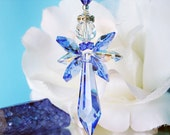 Blue Angel Suncatcher Car Mirror Charm Swarovski Crystal Guardian Angel Car Accessories Angel of Protection