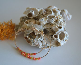 Bronze Hoop Earrings with Red Yellow Beads...