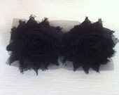 Reserved for Carrah Black Chiffon Shabby Flower with Fuscia Rhinestone Hair Clips