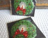 Vintage 1950s Holiday Christmas Wreath with Candle Unused Hallmark Seals