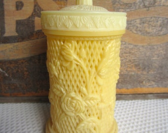 Vintage Ivory Celluloid Cocktail Forks and Faux Carved Container