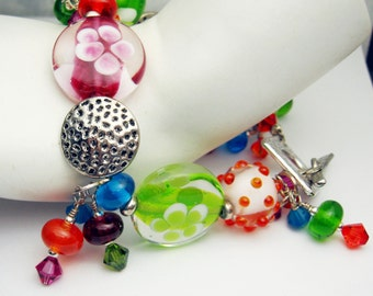 Lampwork Bracelet  Bright Orange Blue Hot Pink Green Silver Beaded Jewelry  'Skittles'