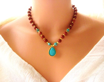 Turquoise, gold plated red jasper bead necklace