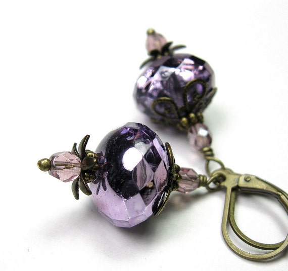 Purple Vintage Style Earrings, Rhapsody, Violet, Czech Glass, Amethyst, Victorian Style, Romantic Jewelry, Gifts for Her, Antiqued Brass