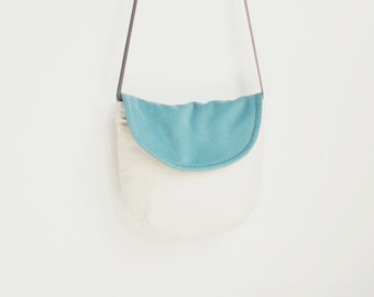 Small Crossbody Bag, Blue Faux Suede, Organic Cotton Twill