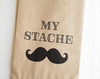 """25 My Stache Mustache Favor Bags 5""""x7.5"""""""