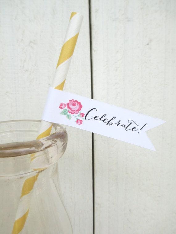 Vintage Floral Wedding Paper Straws Flags Pink Yellow Rose Shower Birthday Custom