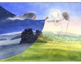 Night Follows Day. The eternal dance of time , art print of original watercolor, blue, orange, green, wall decor.