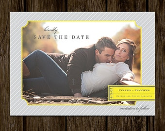 Modern Stripes Photo Save The Date Invitation